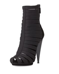 NEED THESE!!!                               Elastic+Cage+Bootie,+Black+by+Gucci+at+Neiman+Marcus.