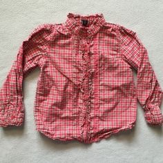 Gap 4T Red Button Up Cute red plaid button from Gap. It has ruffles down the front buttons and the collar. Fits size 4/4T. No known flaws. No trades. GAP Tops Button Down Shirts