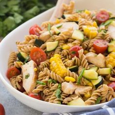 This BBQ Chicken Pasta Salad is loaded with fresh summer vegetables and chicken and tossed in a light dressing with a hint of barbecue flavor! (VIDEO)