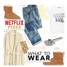 What2Wear: Netflix and Pizza by sweetestdreamer on Polyvore featuring polyvore, fashion, style, H&M, Wrap, Casetify, UGG Australia and Rösle