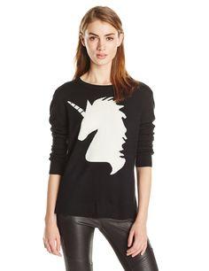 BCBGMAXAZRIA Women's Lucia Unicorn Intarsia Pullover Sweater, Black Combo, X-Small