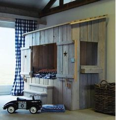 Cool Furniture In The Shape Of House For Designing Kid's Room Building A Cabin, Kid Beds, Bunk Beds, Kid Spaces, My New Room, Boy Room, Child's Room, Kids Bedroom, Bedroom Ideas