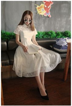Aliexpress.com : Buy FREE SHIPPING 2016 Autumn New Arrrival Vintage Chiffon White Ankle Length High Waist Short Sleeve Peter Pan Collar Long Dress from Reliable collar tags for dogs suppliers on Mr. and miss