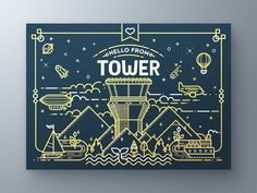 Tower Greeting Card by Fabricio Rosa Marques