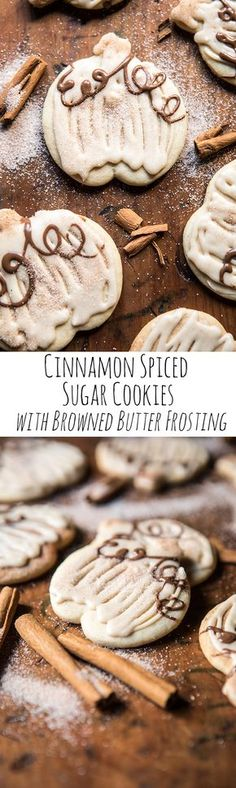 Cinnamon Spiced Sugar Cookies with Browned Butter Frosting + Video.soft, sweet, loaded with cinnamon flavor, so delicious and so easy! Because it's basically October.and time for all things pumpkin! Mini Desserts, Fall Desserts, Just Desserts, Delicious Desserts, Yummy Food, Delicious Cookies, Oreo Dessert, Low Carb Dessert, Baking Recipes
