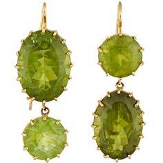 Renee Lewis Peridot Double-Drop Earrings ($10,000) ❤ liked on Polyvore featuring jewelry, earrings, colorless, 18 karat gold jewelry, clear jewelry, hook earrings, clear crystal jewelry and drop earrings