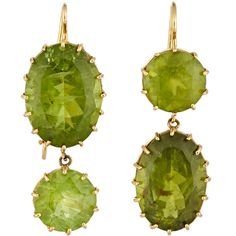 Renee Lewis Peridot Double-Drop Earrings ($10,000) ❤ liked on Polyvore featuring jewelry, earrings, colorless, peridot drop earrings, peridot earrings, 18 karat gold earrings, clear jewelry and drop earrings