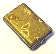 Shiny Gold Butterfly Design CIGARETTE KING SIZE CASE Approx 10 -12 Cigarettes