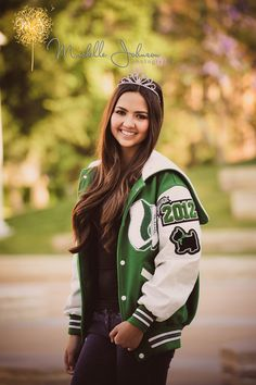 Homecoming ptincess with letterman jacket senior photos girl senior pictures, senior girls, senior photos Dance Senior Pictures, Senior Pictures Sports, Photography Senior Pictures, Senior Picture Outfits, Senior Pictures Boys, Senior Girls, Senior Softball, Letterman Jacket Pictures, Letterman Jacket Patches