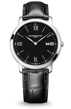 Discover the Classima 10098 steel and leather watch for men with quartz movement, designed by Baume et Mercier, Swiss Watch Maker.