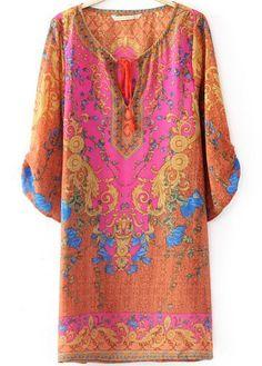 Orange Half Sleeve Vintage Floral Loose Dress 20.00