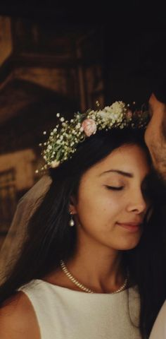 Handmade bridal flower crown with natural baby breath
