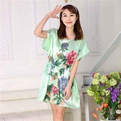 90ec73c0f4 Vintage Chinese Style Women s Faux Silk Robe Gown Summer Print Flower  Bathrobe Dress Sexy Mini Yukata Floral Nightgown One Size