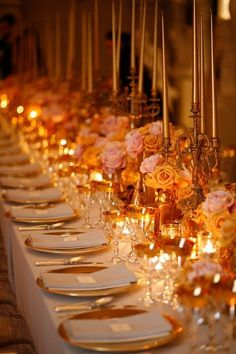 white pink and gold wedding ideas, gold candle wedding decoration, luxury weddings, luxury wedding planner Mod Wedding, Wedding Table, Dream Wedding, Wedding Day, April Wedding, Wedding Gold, Orange Wedding, Wedding 2015, Trendy Wedding