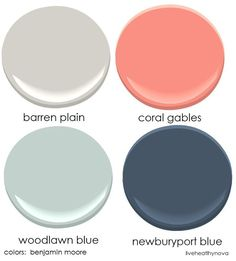 Family room color palette:  benjamin moore colors Barran plain, coral gables, woodlawn green, newburyport blue