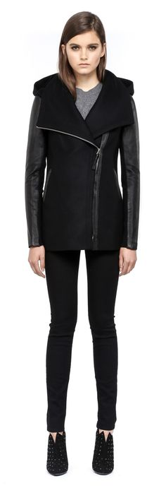 Mackage - ODILIA BLACK HOODED WINTER WOOL JACKET FOR WOMEN WITH LEATHER SLEEVES