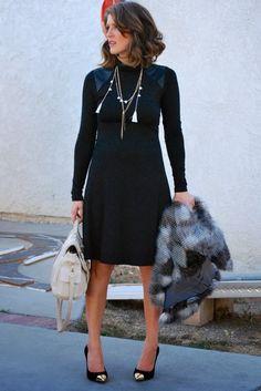 Tanya Dempsey from November Grey: East West Mamas: Karen Kane Dress + Sole Society Cap Toe Pumps