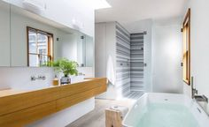 Go Inside A Modern Kids' Bathroom Makeover Bathroom Design Trends In 2019 Bathroom Trends pertaining to [keyword Zen Bathroom Design, Contemporary Bathroom Designs, Best Bathroom Designs, Modern Master Bathroom, Bathroom Renos, Modern Bathrooms, Bathroom Wall, Kitchen Design, Modern Bathtub