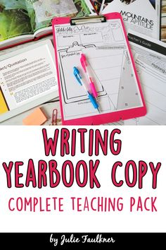 Writing Yearbook Copy, Journalism News Article Writing, Complete Teaching Pack Teach your yearbook, journalism, or newspaper students to write great copy with this complete teaching pack. Everything you need is included for a quick lesson with examples and practice. Plus, I've included a graphic organizer for students to use for any story they write after the lesson.