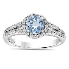 Aquamarine & Diamond Engagement Ring 14K White Gold 1.34 Carat HandMade Certified Birthstone
