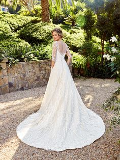 Moonlight Couture H1356B romantic lace 3/4 sleeve wedding dress with illusion back. #bride #modest #princess #bridalgown #dress