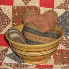3 Hearts made from Antique Quilt & Vintage Ticking by PrairiePrimitives, $14.00 (bowl not included, sorry!)