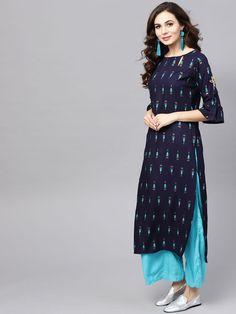 Buy Libas Women Off White & Green Printed A Line Kurta With Palazzos - Kurta Sets for Women 2528368 Jaipur, Simple Kurta Designs, Kurta Designs Women, Dress Neck Designs, Blouse Designs, Kurtha Designs, Choli Designs, Kurta Patterns, Fancy Kurti