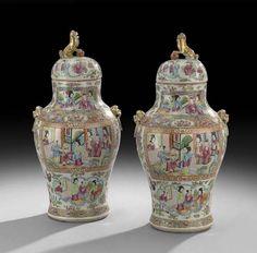 Fine Pair of Rose Medallion Covered Ginger Jars : Lot 52