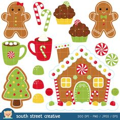 Gingerbread House Gumdrop Candy Cane Cocoa Cute Clip Art Commercial - Clipart Suggest Christmas Clipart, Christmas Printables, Christmas Art, All Things Christmas, Christmas Decorations, Illustration Noel, Christmas Illustration, Scrapbooking Invitation, Clipart Noel
