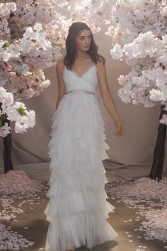 Discover our new bridal collection, 'Fallen For You', featuring tiered ruffle wedding gowns, embellished wedding dresses and soft ombre ballerina length skirts. Needle And Thread Wedding Dresses, Bridal Gowns, Wedding Gowns, Wedding Girl, Party Gowns, Traditional Gowns, Embellished Dress, Birthday Dresses, Beautiful Gowns
