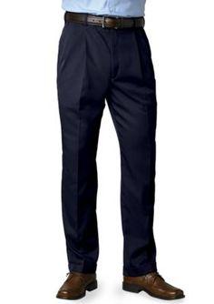 Saddlebred Navy Big  Tall Straight Fit Pleated Wrinkle Resistant Dress Pants