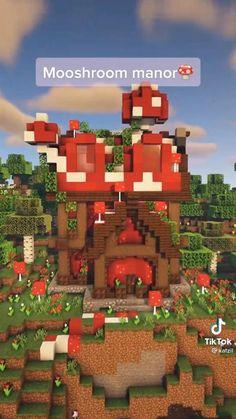 @katzil on tiktok! Minecraft Cottage, Easy Minecraft Houses, Minecraft Plans, Minecraft Funny, Minecraft House Designs, Minecraft Decorations, Amazing Minecraft, Minecraft Tutorial, Minecraft Blueprints