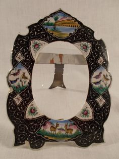 Antique Enamel on Brass Easel Frame by TabletopTreasure on Etsy