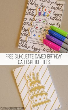 Free DIY Sharpie Birthday Card for Silhouette Cameo by cuttingforbusiness.com