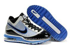huge selection of 3add6 14d25 Nike Air Max LeBron VII Kids White Blue Black Cheap 442500, Price   85.00 -  Big Kids Jordan Shoes - Kids Jordan Shoes - Cheap Jordan Kids Shoes