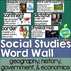 Social Studies Word Wall This product is a word wall to help teach important social studies vocabulary words to upper elementary or middle school students.