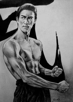 Bruce Lee Fist Of Fury Outake by on DeviantArt Bruce Lee Pictures, Bruce Lee Art, Sexy Black Art, Kelly Hu, Art Reference Poses, Karate, Traditional Art, Martial Arts, Lightsaber