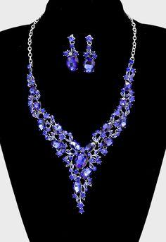 Blue Sapphire Crystal Rhinestone Necklace Set, Prom Jewelry