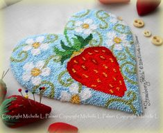 Strawberry Patch Punch Needle Embroidery DIGITAL Jpeg and PDF PATTERN Michelle Palmer Painting with Threads