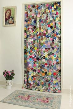 Patchwork Curtain at the Bedroom Door - nice way of displaying a decorative quilt, could use it over our 'wardrobe' area Decor, Patchwork Inspiration, Patchwork Kitchen, Vintage House, Patchwork Curtains, Hexagon Patchwork, Century Textiles, Patchwork Furniture, Patchwork Fabric