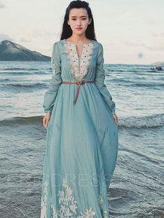 V Neck Long Sleeve Flower Embroidered Maxi Dress (Azure) Muslim Fashion, Modest Fashion, Hijab Fashion, Boho Fashion, Fashion Outfits, Trendy Fashion, Lovely Dresses, Modest Dresses, Casual Dresses
