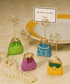 Handbag place card holder, photo holder, price tag holder or note to self.