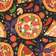 Italienische Salami Pizza Vektor Muster by Irina Trigubova at patterndesigns.com Pizza Salami, Vektor Muster, Surface Design, Tasty, Patterns, Shrimp Pizza, Italian Salami, Vectors