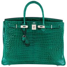 Hermes Birkin Bag 40cm Vert Emerald Porosus Crocodile Impossible Find | From a collection of rare vintage top-handle-bags at https://www.1stdibs.com/fashion/handbags-purses-bags/top-handle-bags/