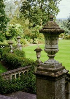 Unique classic urns and balustrades in the garden