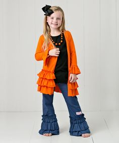 Look at this RuffleGirl Orange Ruffle Cardigan Set - Infant, Toddler & Girls on #zulily today!