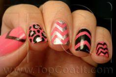 Twinsie Tuesady: Chevron Nails @TopCoatIt beautiful chevron nails ---------  I like the pink, leopard, and silver chevron