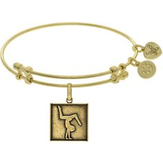 7.25 Adjustable Angelica Yellow Brass Gymnast Charm Bangle Bracelet ($25) ❤ liked on Polyvore featuring jewelry, bracelets, brass charm bracelet, brass bangle bracelet, adjustable charm bracelet, bangle charm bracelet and charm bangle
