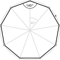 Nonagon annotated - ไฟล์: Regular polygon 9 annotated.svg - Wikipedia Regular Polygon, Geometry Formulas, Sheet Metal Work, Math Magic, Islamic Cartoon, Tiffany Stained Glass, Geometric Drawing, Wood Stars, Number Words