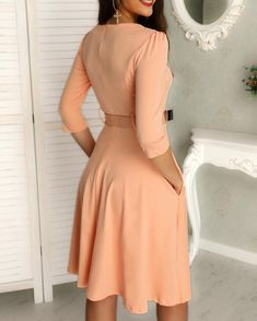 Shop Solid Zipper Up Belted Pleated Casual Dress right now, get great deals at joyshoetique Belted Dress, Bodycon Dress, African Wear Dresses, Trend Fashion, Women's Fashion, Color Club, Half Sleeves, Clubwear, Pattern Fashion